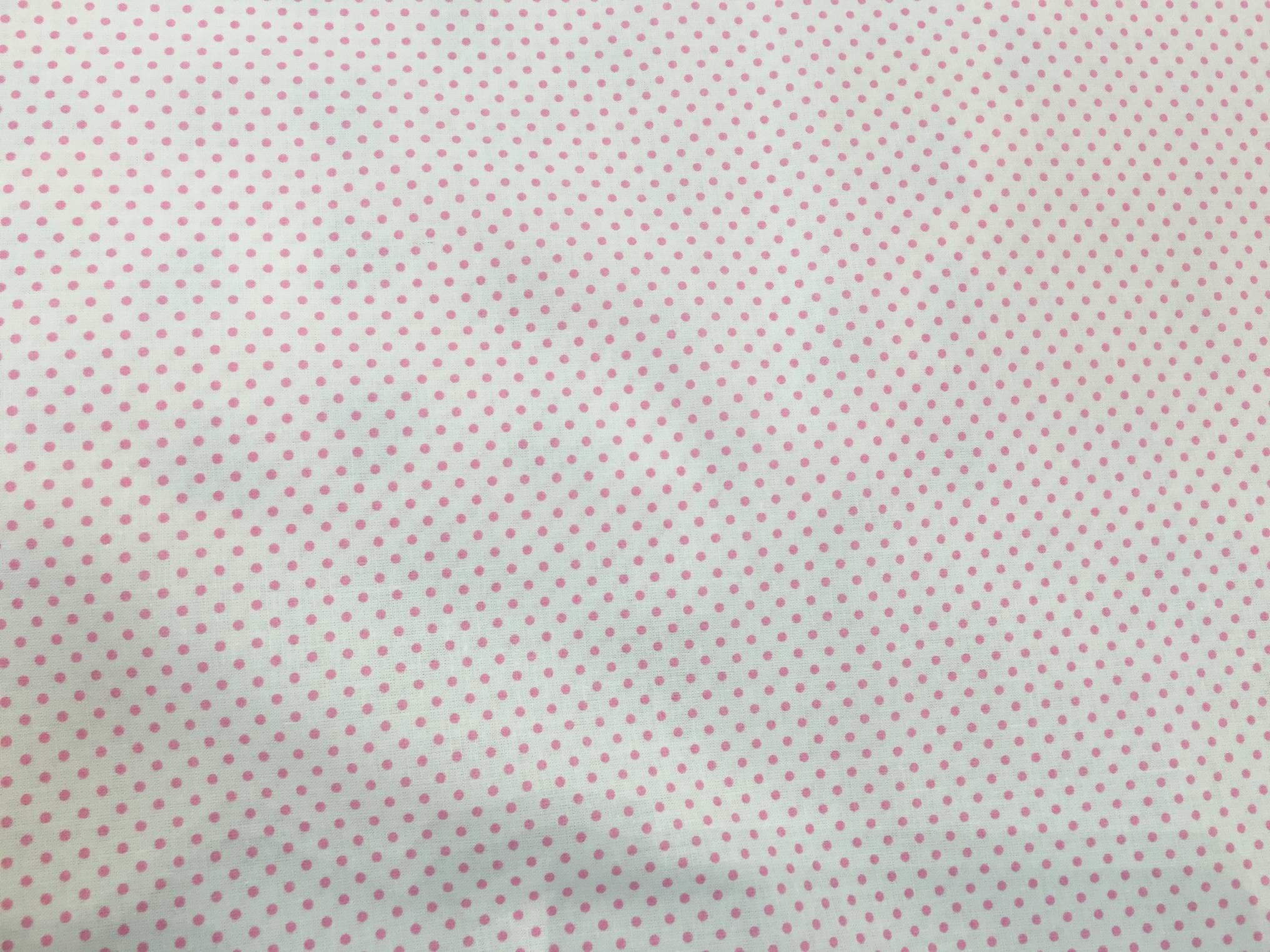 Tessuto Cotone a Pois Rosa