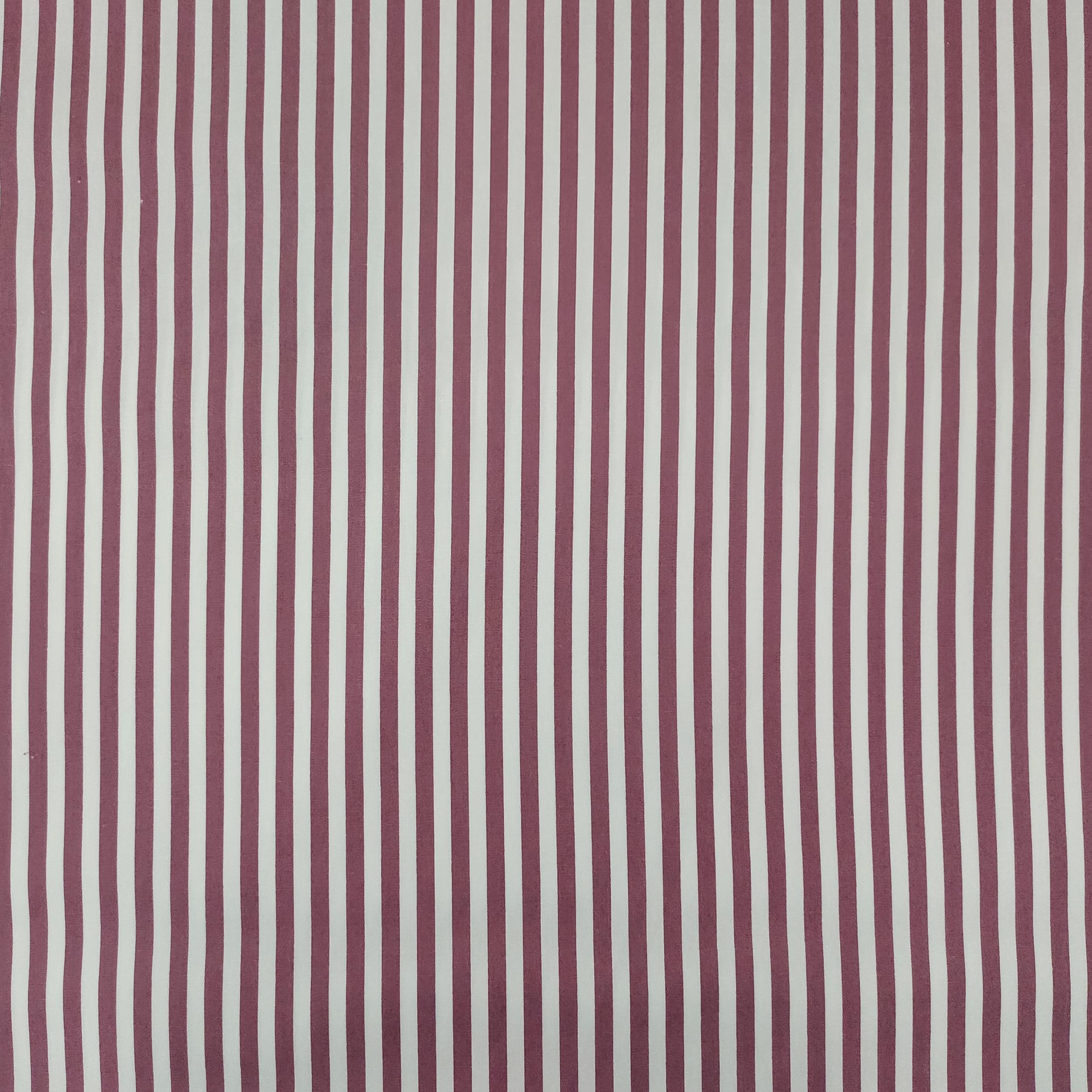 Ritaglio Tessuto Cotone Natural Righe Bianche e Vinaccia 50x140 cm