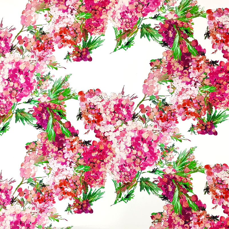 Tessuto Crepe di Seta Fiorellini Dipinti Sfondo Bianco