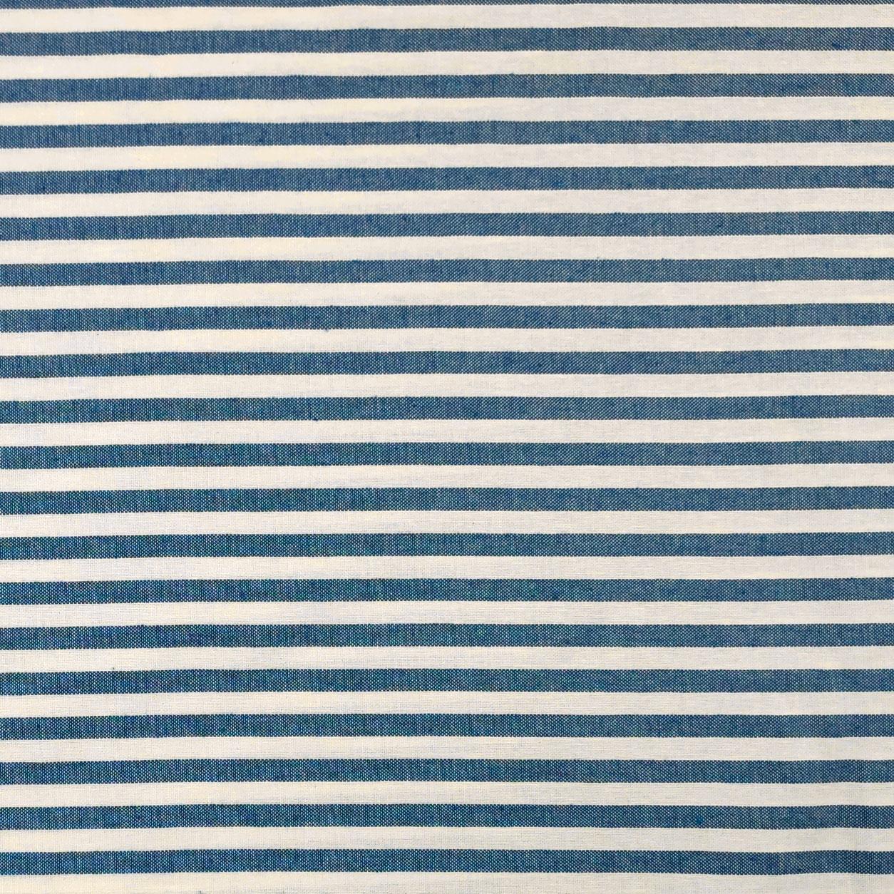 Tessuto Panama Tinto In Filo a Righe Blu Scuro