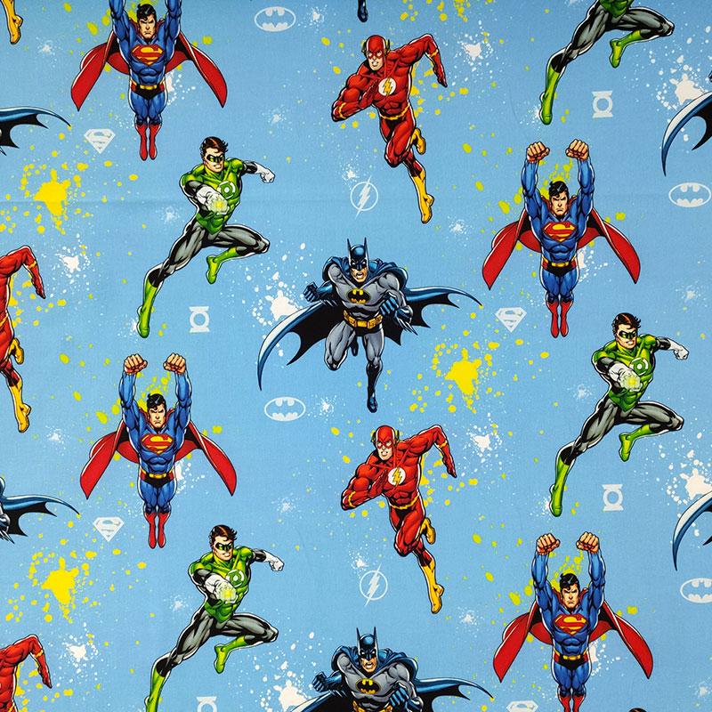 Tessuto Cotone Justice League Sfondo Azzurro
