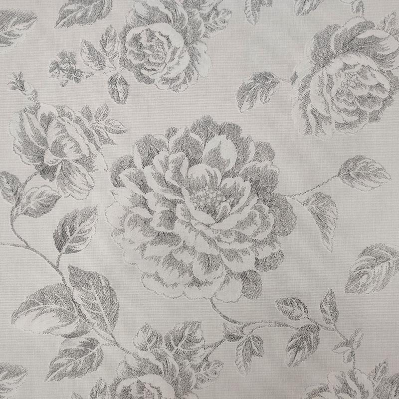 Tessuto di Cotone Rose Disegnate Grigio