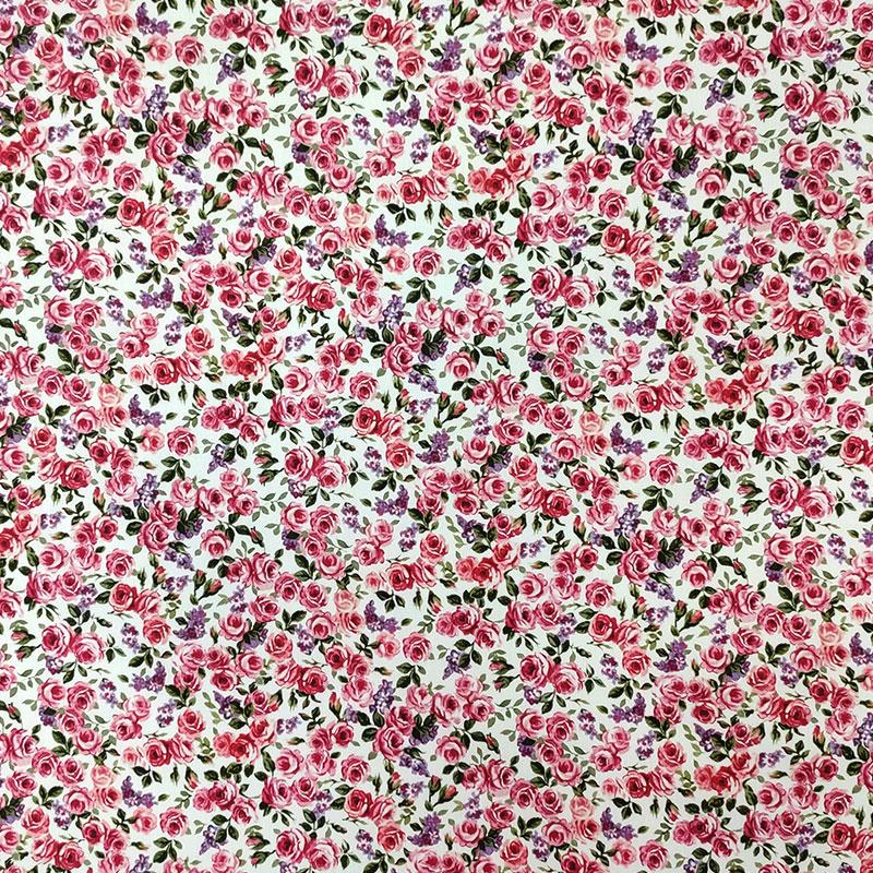 Tessuto di Cotone Roselline Rosa