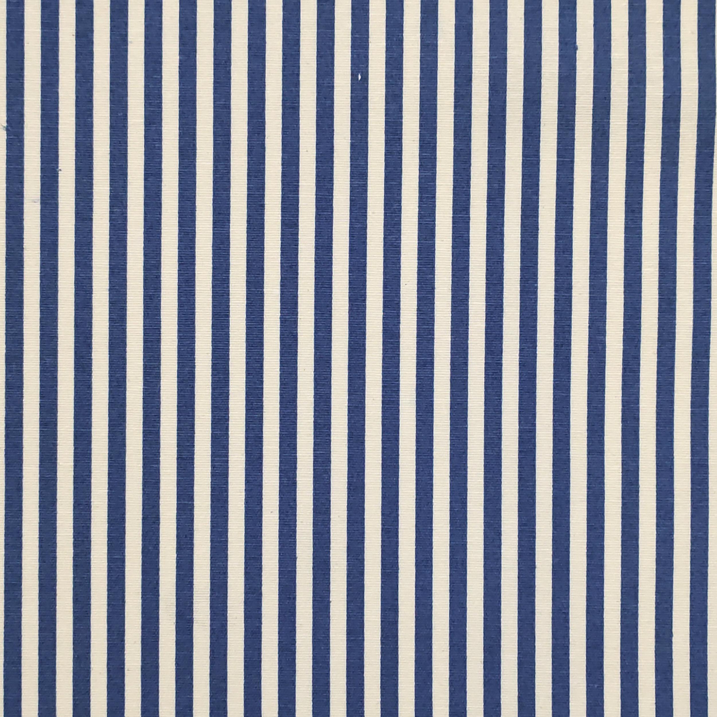 Tessuto Misto Cotone Fantasia Righe Blu