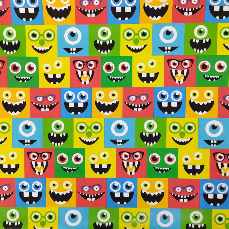 Ritaglio Rasatello Cotone Mostri Colorati 50x140 cm