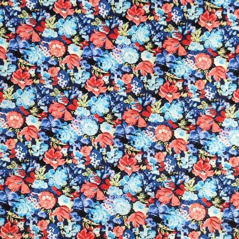 Tessuto Cotone Fiori Rossi e Blu Sfondo Scuro