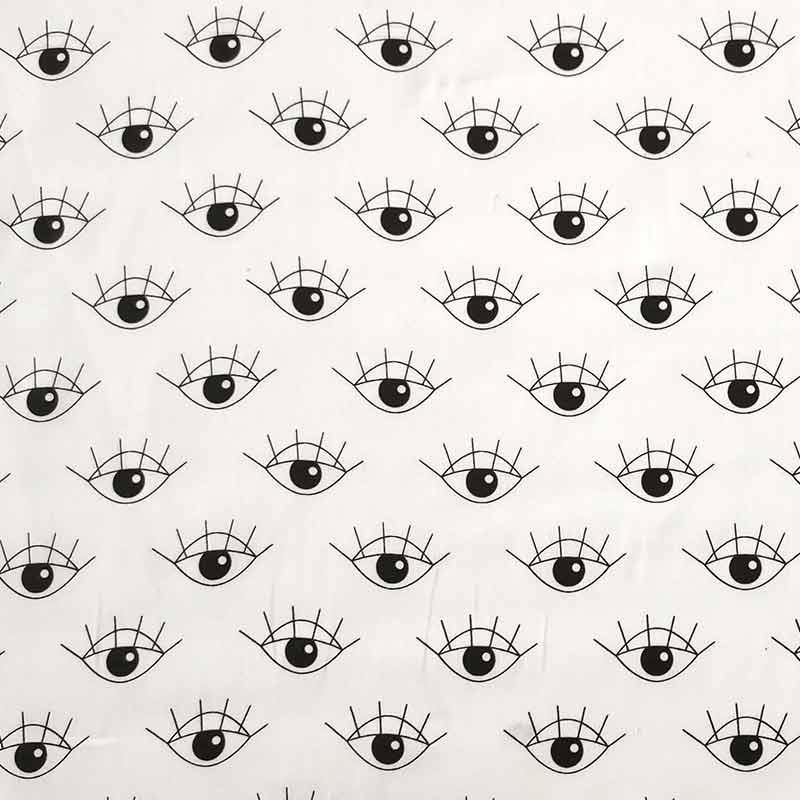Ritaglio Rasatello di Cotone Leggero Fantasia Occhi 50x140 cm