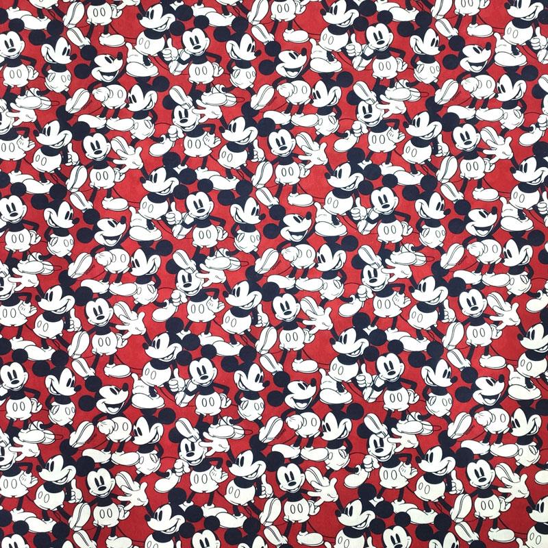 Tessuto Cotone Disney Mickey Mouse Sfondo Rosso