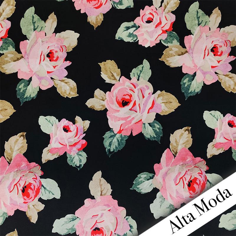 Raso di Seta Fantasia Rose Sfondo Nero